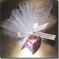 DIY Personalized Chocolate Heart Favors Customized with Your Choice of Font, Tag, Ribbon and Tulle