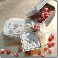 "Personalized ""Love"" Mint Favors with Organza Bag and Decorative Embellishment"