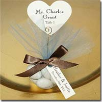 DIY Personalized Chocolate Heart Favors Customized with Your Choice of Font, Tag, Ribbon, Tulle, and Embellishments